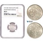 AE090, Egypt, Occupation Coinage, 2 Piastres AH1335 /1920-H, Heaton, Silver, NGC MS61