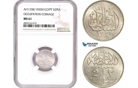 AE090, Egypt, Occupation Coinage, 5 Piastres AH1335 /1920-H, Heaton, Silver, NGC MS61
