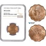 AE094, Egypt, Farouk, 10 Milliemes AH1362/1943, NGC MS64BN