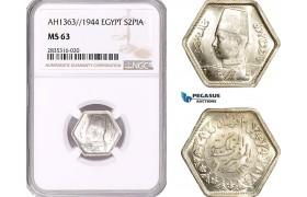 AE095, Egypt, Farouk, 2 Piastres AH1363/1944, Silver, NGC MS63
