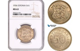 AE098, Estonia, 50 Senti 1936, NGC MS63