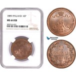 AE099, Finland, Alexander III. of Russia, 10 Penni 1889, NGC MS64RB