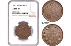 AE100, Finland, Alexander III. of Russia, 10 Penni 1891, NGC AU58BN