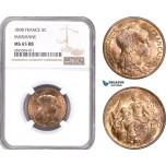 AE106, France, Third Republic, 5 Centimes 1898, Marianne, NGC MS65RB, Pop 3/0