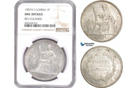 AE113, French Indo-China, Piastre 1907-A, Paris, Silver, NGC UNC Det.
