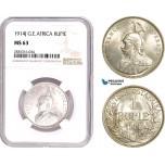 AE115, German East Africa (DOA) Wilhelm II, Rupee 1914-J, Hamburg, Silver, NGC MS63