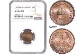AE119, Hungary, Franz Joseph, 2 Filler 1895-KB, Kremnitz, NGC MS66BN, Pop 1/0
