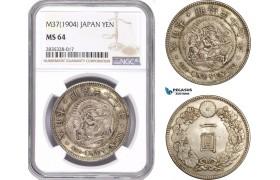 AE126, Japan, Meiji, Yen Yr. 37 (1904) Silver, NGC MS64