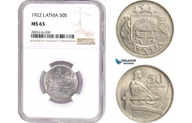 AE127, Latvia, 50 Santimi 1922, NGC MS63