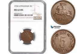 AE129, Lithuania, 5 Centai 1936, NGC MS62BN
