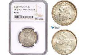 """AE130, Lithuania, 5 Litai 1936, Silver """"Dr. Jonas Basanavicius"""" NGC MS63"""