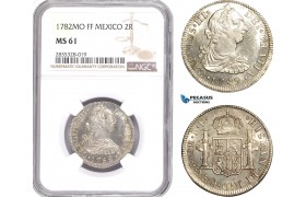 AE131, Mexico, Charles IV, 2 Reales 1782 Mo FF, Mexico City, Silver, NGC MS61