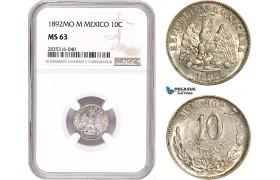 AE132, Mexico, 10 Centavos 1892 Mo M, Mexico City, Silver, NGC MS63