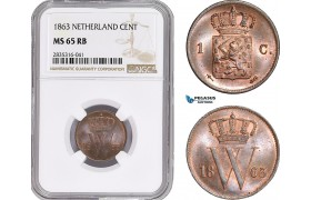 AE134, Netherlands, Willem III, 1 Cent 1863, Utrecht, NGC MS65RB, Pop 1/0