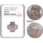 AE135, Netherlands East Indies (VOC) Duit 1790, Zeeland, Plain edge, NGC MS64BN