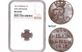 AE137, Norway, Frederik VI, 1 Skilling 1812, Kongsberg, With Mintmark, NGC MS64BN