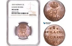 AE139, Norway, Frederik VI, 2 Skilling 1810, Kongsberg, NGC MS66RB, Pop 1/0