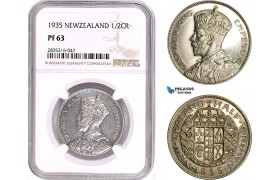 AE140, New Zealand, George V, 1/2 Crown 1935, London, Silver, NGC PF63
