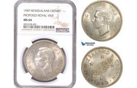 AE141, New Zealand, George VI, Crown 1949, Silver, Proposed Royal Visit, NGC MS64