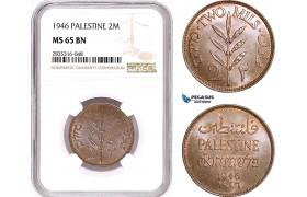 AE142, Palestine, 2 Mils 1946, London, NGC MS65BN