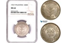 AE143, Palestine, 100 Mils 1927, London, Silver, NGC MS64