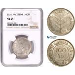 AE144, Palestine, 100 Mils 1931, London, Silver, NGC AU55, Rare!