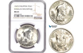 "AE146, Philippines, Peso 1947-S, San Francisco, Silver, ""Douglas Macarthur"" NGC MS65"
