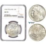 AE149, Poland, 10 Zlotych 1936, Warsaw, Silver, NGC AU55
