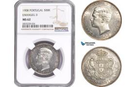 AE150, Portugal, Emanuel II, 500 Reis 1908, Lisbon, Silver, NGC MS62