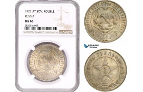 AE163, Russia (RSFSR) Rouble 1921, Leningrad, Silver, NGC MS63