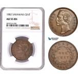 AE164, Sarawak, C. Brooke Rajah, 1 Cent 1882, NGC AU55BN