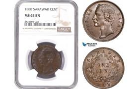 AE165, Sarawak, C. Brooke Rajah, 1 Cent 1888, NGC MS63BN