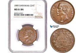 AE166, Sarawak, C. Brooke Rajah, 1 Cent 1889, NGC MS61BN