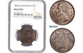 AE167, Sarawak, C. Brooke Rajah, 1 Cent 1890-H, Heaton, NGC MS63BN