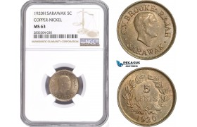 AE168, Sarawak, C.V. Brooke Rajah, 1 Cent 1920-H, Heaton, Copper-Nickel, NGC MS63, Rare!