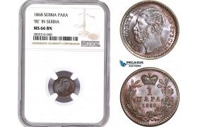 AE169, Serbia, M. Obrenovic III, 1 Para 1868, NGC MS66BN