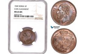AE170, Serbia, M. Obrenovic III, 5 Para 1868, Coin Alignment, NGC MS65BN, Rare!