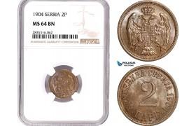 AE171, Serbia, Alexandar I, 2 Para 1904, NGC MS64BN