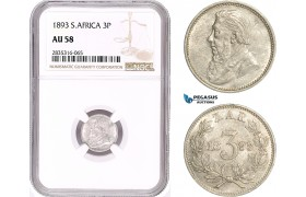 AE174, South Africa (ZAR) Threepence (3P) 1893, Pretoria, Silver, NGC AU58