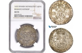 AE175, Spanish Netherlands (Belgium) Brabant, Philip IV, 1/2 Patagon 1633, Antwerp, Silver, NGC AU55, Pop 1/0