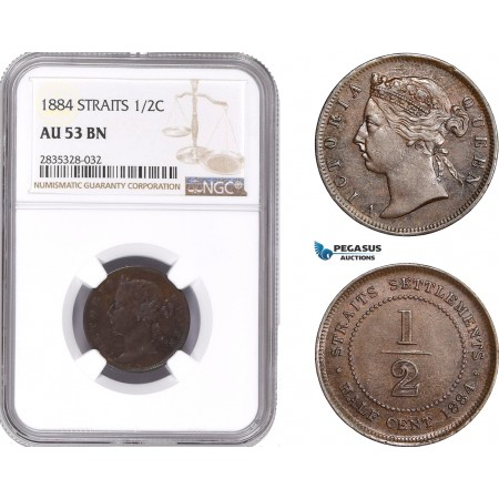 AE176, Straits Settlements, Victoria, 1/2 Cent 1884, NGC AU53BN, Rare Date!