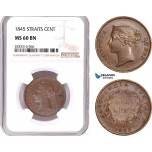 AE177, Straits Settlements, Victoria, 1 Cent 1845, NGC MS60BN