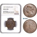 AE178, Straits Settlements, Victoria, 1 Cent 1877, NGC MS62BN, Pop 1/1, Rare!