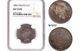 AE179, Straits Settlements, Victoria, 1 Cent 1884, NGC AU53BN