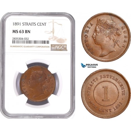 AE180, Straits Settlements, Victoria, 1 Cent 1891, NGC MS63BN, Pop 3/0