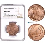 AE181, Straits Settlements, Edward VII, 1 Cent 1903, NGC MS64RB