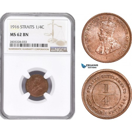 AE182, Straits Settlements, George V, 1/4 Cent 1916, NGC MS62BN