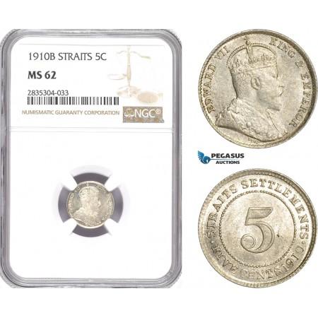 AE183, Straits Settlements, Edward VII, 5 Cents 1910-B, Bombay, Silver, NGC MS62