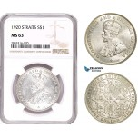 AE184, Straits Settlements, George V, 1 Dollar 1920, Bombay, Silver, NGC MS63