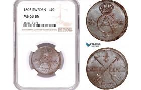 AE185, Sweden, Gustav IV Adolf, 1/4 Skilling 1802, Avesta, NGC MS63BN